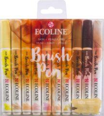 Huidskleurige Talens Ecoline Brush Pen - 10 stuks - Huid - Brushpen