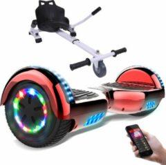 Evercross 6.5 inch Hoverboard met Flits Wielen + TAOTAO moederbord, Elektrische Zelfbalancerende Scooter,Bluetooth Speaker,LED verlichting - Rood Chroom + Hoverkart Wit