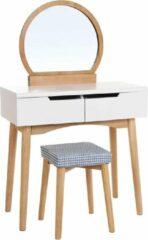 Bruine Acaza Make-up tafel met Ronde Spiegel en Bijhorende Kruk voor Dames / Meisjes - Witte Kaptafel met 2 Grote Schuifladen - 128 cm hoog, 80 cm breed; 40 cm diep - Wit en Hout