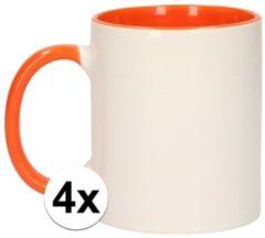 Shoppartners 4x Wit met oranje blanco mokken - onbedrukte koffiemok