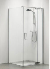 Zilveren Sealskin Get Wet Custom swingdeur rechts met zijwand 90X195cm zilverhoogglans helder glas CP17090D260100