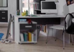 Schreibtisch in Weisseiche mit Absetzung in graphit Wimex Cariba