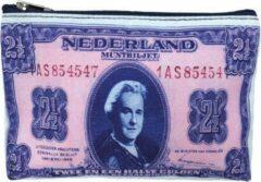 Blauwe Kunstboer Etui Wilhelmina - Etui Dollars - 24x17x3 cm