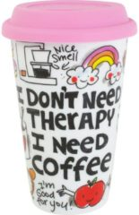 Creme witte Blond Amsterdam Specials Coffee to Go Beker - Therapy - 250 ml - Porselein