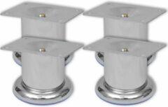 Zilveren VidaXL Bankpoten rond chroom 60 mm 4 st