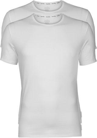 Afbeelding van Calvin Klein Crew Neck 2-pack T-shirts Heren Sportshirt casual - Maat S - Mannen - wit
