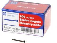 Klusgereedschapshop Stalen nagel bombe kop 25 x 2.0mm