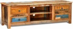 Bruine Merkloos / Sans marque Tv-meubel met 4 lades gerecycled hout