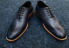 Pantera Pelle Leather Shoes Volledig Lederen Herenschoen, donkerblauw met grijs, maat 43