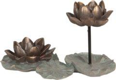 Decoratie waxinelichthouder - 30*18*20 cm - groen - kunststof - waterlelie - Clayre & Eef - 6PR2650