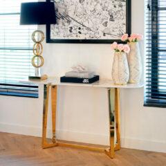 Gouden Richmond Interiors Richmond Sidetable 'Dynasty' Faux Marmer en Staal, 150cm