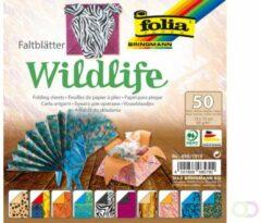 Folia Paper Vouwblaadjes Folia dubbelzijdig Wildlife 15x15cm 50vel