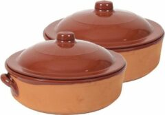 Merkloos / Sans marque 2x Stenen ovenschalen met deksel bruin/ terracotta 31 cm - Terracotta ovenschalen/braadpannen