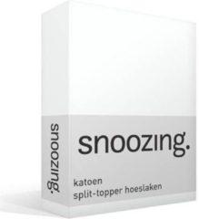 Witte Nightdream katoen split-topper hoeslaken Wit Lits-jumeaux (160x210/220 cm) (05 wit topper)