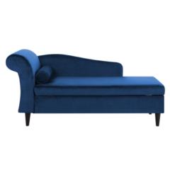 Beliani Chaise longue fluweel marineblauw linkszijdig LUIRO
