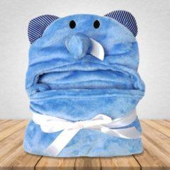 Babydeken Blauwe Olifant - Wikkeldeken & Badcape - 100 x 70 cm - Kraamcadeau - Comfy Capes