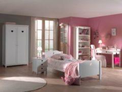 Vipack Furniture Vipack Set Amori bestehend aus: Einzelbett, Nachtkonsole, Schreibtisch, Regal und Kleiderschrank 2-trg.