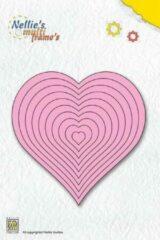 Nellie`s Choice MFD060 Nellie Snellen snijmal - hart recht - 10 mallen - harten glad - 10 x 10 cm