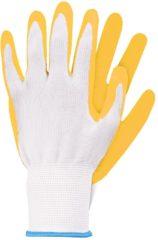 Gele TalenTools Werkhandschoenen latex lichtgeel S