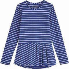 Coolibar - UV Shirt voor meisjes - Longsleeve - Aphelion Tee - Saffierblauw/Wit - maat S (104-116cm)