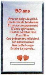 Rode Gifa Theelichthouder - bijzondere tekst - 50 ans