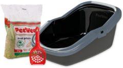 Antraciet-grijze PeeWee EcoMinor Startpakket - Kattenbak - Zwart - 56 x 39 x 27.5 cm