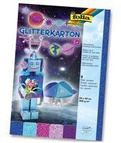 Folia Glitterkarton Ice (donkerblauw turkoois fuchsia oudroze en paars)