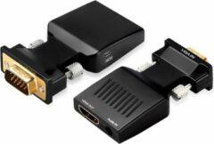 Dolphix VGA + 3,5mm Jack naar HDMI adapter - compact / zwart