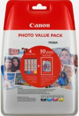 CANON CLI-571 Value Pack blister 4x6 Phot Paper PP-201 50sheets + Cyan Magenta Yellow & Photo Black ink tanks