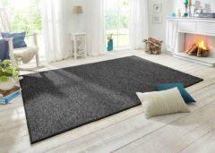 Antraciet-grijze BT Carpet Vloerkleed Wol-optiek - antraciet 80x150 cm
