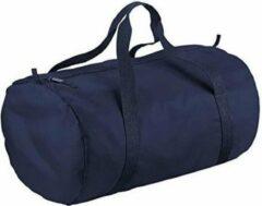 Marineblauwe Navy blauwe ronde polyester sporttas/weekendtas 32 liter - Sporttassen/gymtassen/weekendtassen voor volwassenen