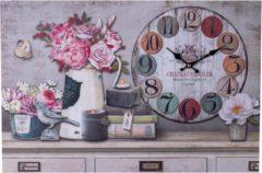 XL Canvas Schilderij Wandklok FLOWERS CANDLES & BOOKS met Klok - Wand Klok Landelijk / Brocante - Canvasklok - Canvas Wandklokken met Klok - Keukenklok - Muurklok Wand Klok - Afm. 60 x 40 Cm - Decopatent®