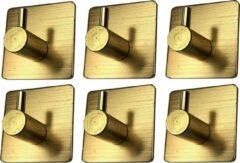 Hanglife | 6st. | Hand- en theedoek haakje | Goud | Max. Hanggewicht 7 KG | Egaal Design | Makkelijke Montage | Waterbestendig | Meerdere Kleuren | Kwaliteit | Nieuw 2020 Model |