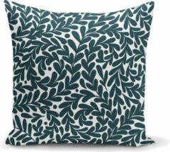Groene Zijou Decoratieve sierkussen pastel turquoise bladeren ontwerp binnen of buiten 45x45cm