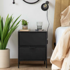 Zwarte Kave Home Nachtkastje 'Shantay' 50 x 40cm