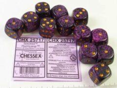 Paarse Steve Jackson Games Set 12 6-zijdig, 16mm Speckled Hurricane