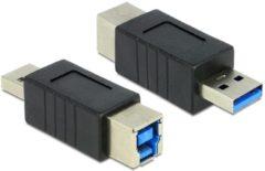 Zwarte DeLOCK USB 3.0 Adapter USB 3.0-A M USB 3.0-B FM Zwart kabeladapter/verloopstukje