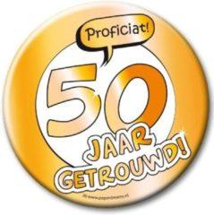 Gele Paper dreams XL Button - 50 jaar getrouwd (Doorsnee 10 cm)