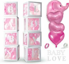 Roze Fissaly® 58 Stuks Babyshower Meisje & Gender Reveal Versiering Dozen – Baby Girl – Mommy to Be Party - Decoratie Ballonnen Pakket – Feestpakket