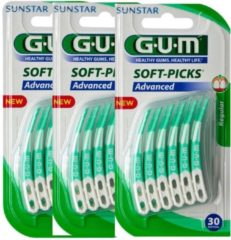 GUM Soft Picks Advanced Regular - 3 x 30 stuks - Ragers - Voordeelverpakking