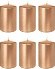 Roze Trend Candles 6x Rosegouden cilinderkaarsen/stompkaarsen 5 x 8 cm 18 branduren - Geurloze rose goudkleurige kaarsen - Woondecoraties