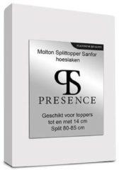 Presence Molton Sanfor Splittopper Hoeslaken - Platinum - 180x210 cm Wit