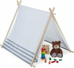 Grijze Relaxdays Tipi speeltent kind - kindertent - wigwam - tent kinderkamer - indianentent
