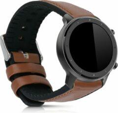 Kwmobile horlogeband voor Huami Amazfit GTR (47mm) / GTR 2 -Armband voor fitnesstracker van leer in bruin / zwart