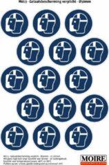 Blauwe Moire BV Pictogram sticker 75 stuks M013 - Gelaatsbescherming verplicht - 50 x 50mm - 15 stickers op 1 vel