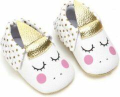 Merkloos / Sans marque Eenhoorn Baby Slofjes - Wit Roze Zilver - 12/18 Maanden - Unicorn - PU Leer - Mocassins - Kraamcadeau - Babyshower