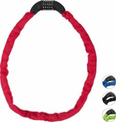 Relaxdays Fietsslot - kettingslot - cijferslot - 120 cm - gekleurd rood