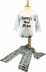 "Grijze Baby, Rompertje, Snor, ""Mommy's New Man"", Mustache, Snorretje, FIFO Romper"