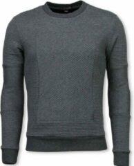 Black Number 3D Ribbel Square Crewneck - Sweater - Grijs Heren Sweater S