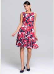 Kleid Alba Moda Marineblau/Weiß/Rot